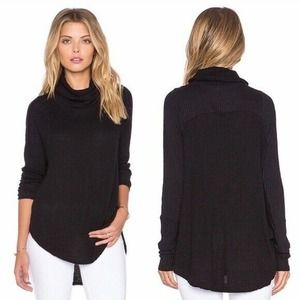 We The Free People Waffle Thermal Top Cowl Neck